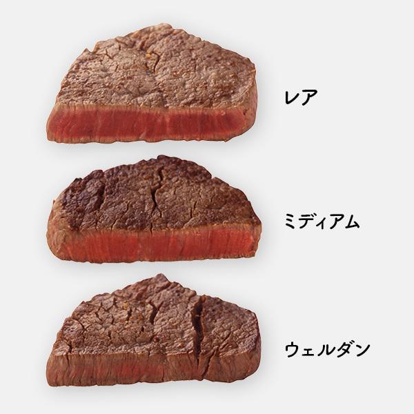 ステーキのレア、ミディアム、ウェルダンの焼き加減の違い