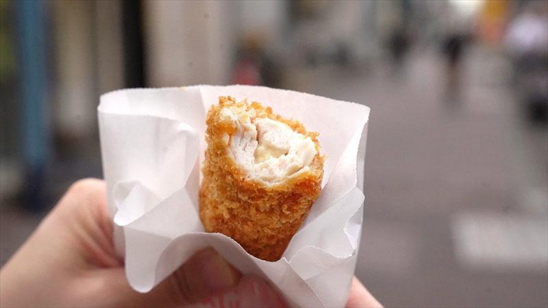 雑色商店街「肉のいのせ」ササミチーズ巻カツ 食べたところ