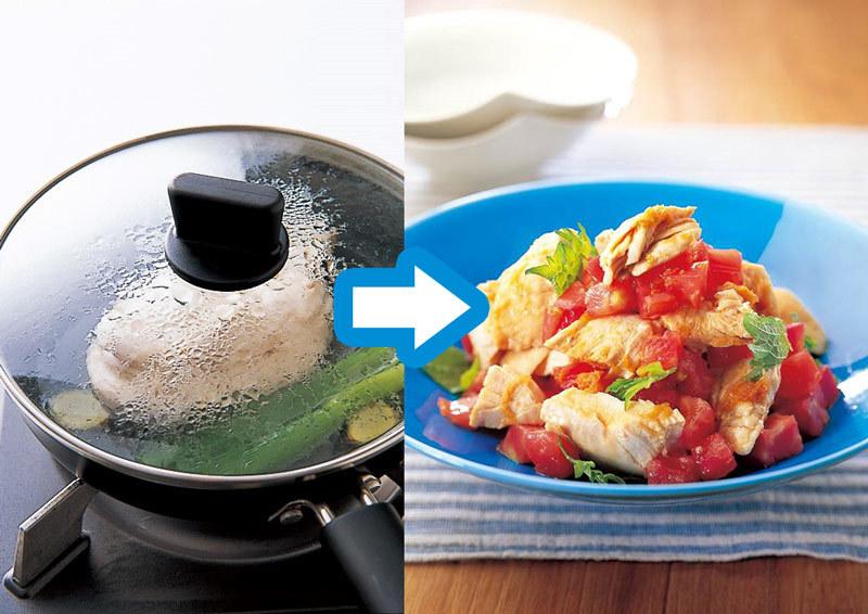 鶏むねをフライパンで蒸して作る蒸し鶏