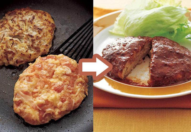 豚こまを焼きかためて作るハンバーグ