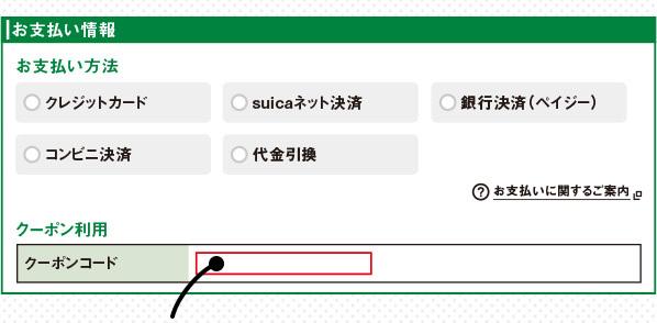 サイト画面のこちらにクーポンコードを入力してください!
