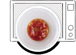 ミネストローネ作り方 煮汁と具をレンジで加熱