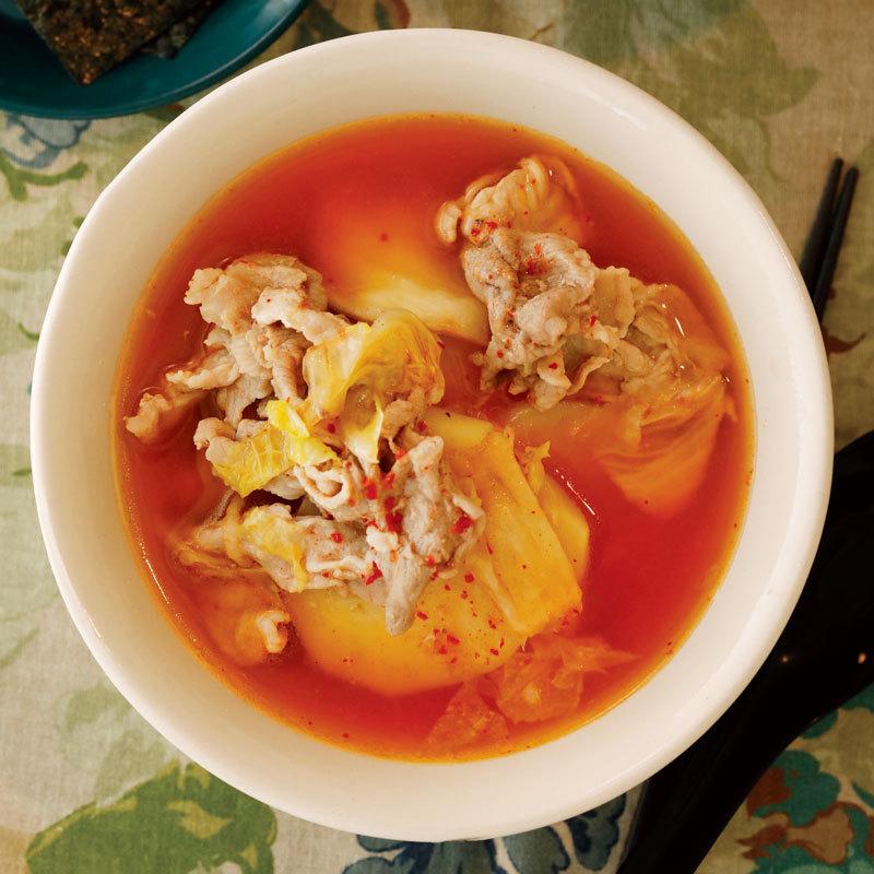 レンジにおまかせ! 豚こまとじゃがいものキムチスープのレシピ