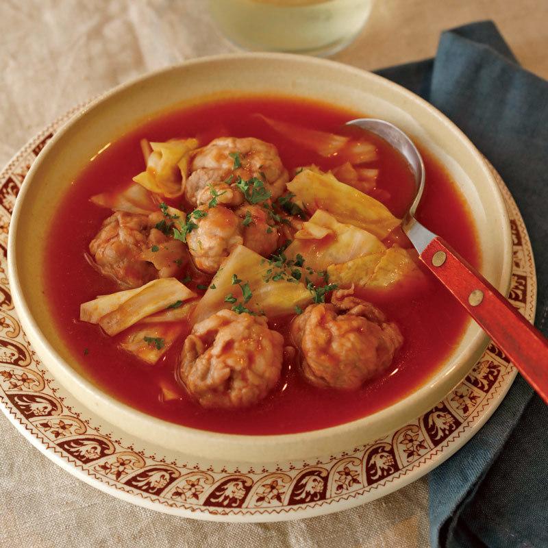 レンジで簡単! 五十嵐ゆかりさんの「豚こまとキャベツのトマトスープ」のレシピ