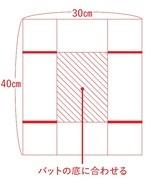 ・卵白は使う直前まで冷蔵庫で冷やしておく。 ・プレーンヨーグルトは常温にもどす。 ・オーブン用シートを右記の図のように切り、線にそって折り目をつけ、太線部分に切り込みを入れてバットに敷く。 ・アルミホイルを30×30cmに切り、3等分に折る。これを2枚用意する。 ・湯せん用の湯を沸かす(80℃が目安)。 ・オーブンを150℃に予熱する。