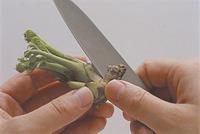 たらの芽は根元をむいてはかまを取る。むきえびは背に切り込みを入れて背わたを取り、塩水(水2カップに対して塩小さじ2が目安)ですすいで水けを拭く。