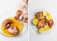 耐熱皿(直径約19cm、内径約15㎝)に袋の中身を出し、新じゃがいもを加える。ふんわりとラップをかけ、電子レンジで3分ほど加熱し、さっと混ぜてさます。   【1】の状態で冷蔵で2~3日保存できます。冷凍の場合は、2週間ほど保存可能。使うときは、自然解凍して同様に使って。