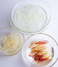 玉ねぎ、みょうが、しょうがのせん切りはそれぞれ3分ほど冷水にさらし、水けをよくきる。かつおは幅1cmに切る。器に香味野菜とかつおを盛り合わせる。ポン酢しょうゆの材料を混ぜて添える。
