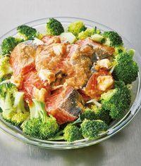 直径約25cmの耐熱皿の中央にもやしをのせ、まわりにブロッコリーをのせる。鮭を中央に広げのせ、袋に残ったたれをかける。ふんわりとラップをかけ、電子レンジで8分加熱し、そのままおいて2分蒸らして器に盛る。