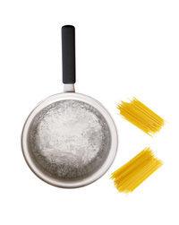 鍋に湯1リットルを沸かし、塩小さじ2を加えてさっと混ぜる。スパゲティを半分に折って加え、袋の表示どおりにゆでる。スパゲティがゆで上がる1分前に鍋にしめじを加え、いっしょにゆでる。