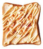 天板にパンを並べて置き、くぼみにかにマヨタルタルを1/2量ずつ入れ、マヨネーズ適宜をジグザグの線状にかける。オーブントースターで4分ほど焼く。