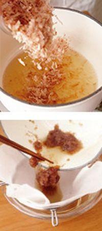 鍋に削り節を加え、弱火で2分ほど煮る。火を止めてそのまま5分ほどおく。ボールにざるを重ね、ペーパータオルを敷いてこす。温かいうちに粉唐辛子、しょうゆ小さじ1、砂糖小さじ1/2を加え、よく混ぜてさます。