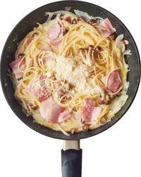 ふたをして中火にかけ、蒸気が出たら、弱火で10分ほど煮る。ふたを取ってソースの材料とベーコンを加えて中火にし、スパゲティをほぐしながら1~2分煮る。火からはずし、溶き卵を加えてからめ、粗びき黒こしょうをたっぷりとふる。