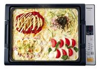 【3】にトッピングA・B・C・Dをそれぞれ写真のようにのせ、ふたをして160℃でチーズが溶けるまで3分ほど蒸し焼きにする。仕上げ用の具をのせ、保温にする。