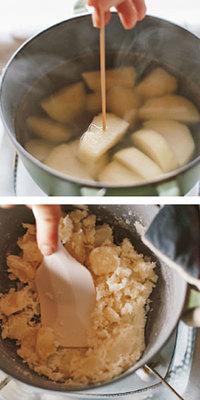 鍋を傾けて湯を捨て、再び弱めの中火にかけて鍋を揺すり、水けをとばす。表面全体に粉がふいたら火を止め、耐熱のゴムべらなどでつぶす。