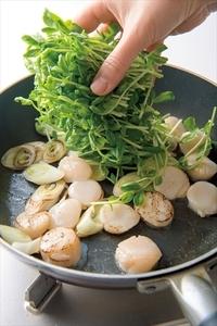 フライパンにサラダ油大さじ1/2を強めの中火で熱し、ねぎを1分ほど炒める。帆立てを加えて30秒ほど炒めたら、豆苗を加えてかるく炒め合わせる。