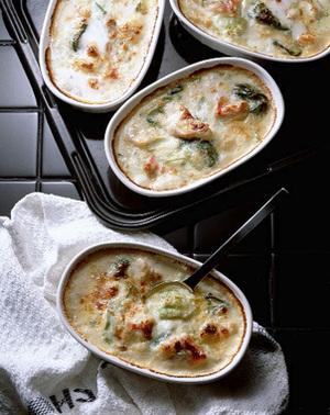 青梗菜と白身魚のグラタン