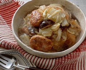 鶏肉だんごとキャベツ、しいたけ、春雨のうま煮
