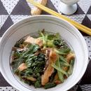 小松菜、油揚げと煮干しのさっと煮