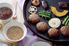 ハンバーグと野菜の鉄板焼き