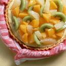 黄桃、キウィ、グレープフルーツのカスタードパイ