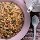卵+ひき肉+セロリのピラフ風炒めご飯