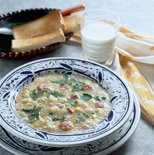 ソーセージ入りかき玉スープ