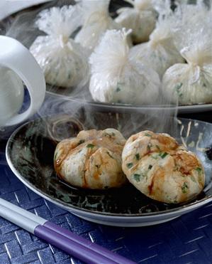 豆腐の帆立て入り茶きん蒸し