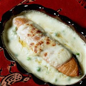 鮭とグリーンピースのグラタン