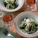 大根のわかめとせり入りごま風味サラダ
