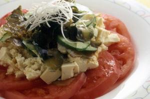 トマトとザーサイの豆腐のサラダ