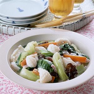 いかと青梗菜の塩炒め