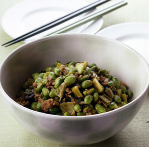 枝豆と豚ひき肉の高菜炒め