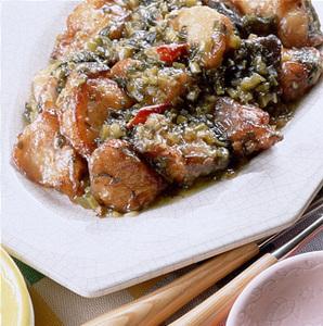 揚げ魚の高菜炒め