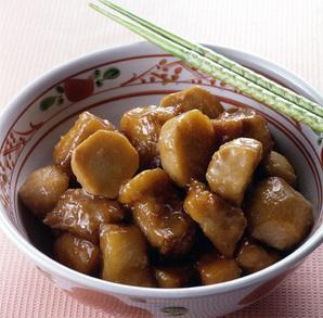 豚バラ肉と里いもの揚げ煮