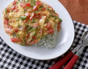 野菜入り卵のオムライス