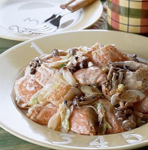 鮭としめじのマヨネーズ炒め