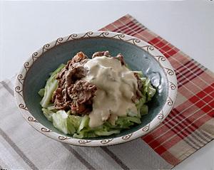 牛肉とキャベツのごまみそマヨネーズかけ