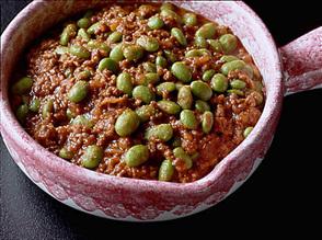 ひき肉と枝豆のカレー煮