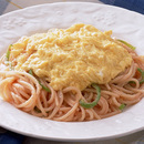 スクランブルドエッグのせ明太子スパゲティ
