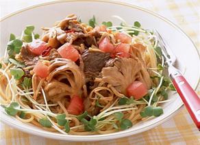 牛肉きのこスパゲティ