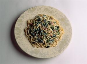 モロヘイヤのカルボナーラ風のスパゲティ