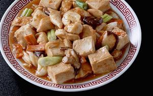 ささ身と豆腐の中国風炒め