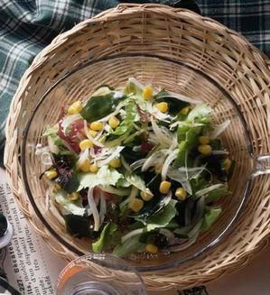 海草とスライスオニオンのサラダ