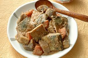 根菜入りのごま風味さばのみそ煮