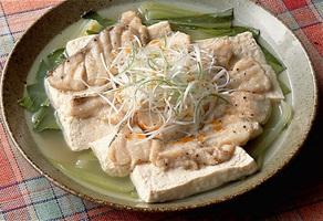 たらと豆腐の香り蒸し
