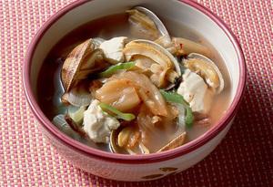 あさりと豆腐のキムチ汁