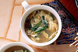 二色野菜のかきたまスープ