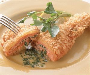 鮭のガーリックバターフライ