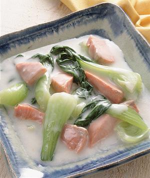 鮭と青梗菜のクリーム煮